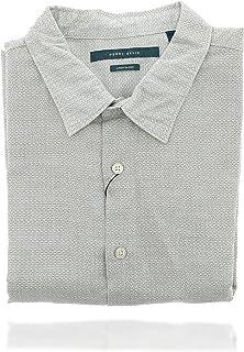 Perry Ellis 男式 Collard 系扣短袖设计师衬衫 (XL) 白色
