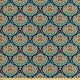 可选择的佩斯利涡纹花呢面料, 中东部传统主题垂直线条背景花卉,装饰性缎面面料,适合家纺和工艺品,1 码, 鲑鱼*蓝海水蓝