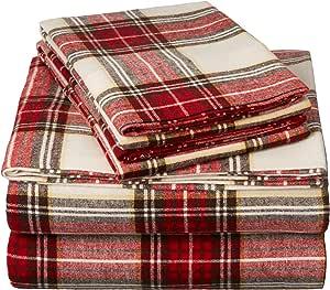 160 GSM 格子法兰绒床单套装 奶油色/红色格子 King FLSS-BRPL-KG