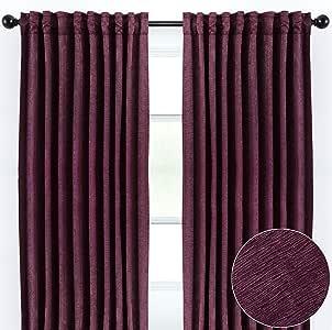 Chanasya 固体压花纹理窗帘面板适用于客厅卧室窗户露台办公室客厅 - 豪华设计局部房间变暗窗帘适用于家庭(2 件套) 茄紫色 W52xH84 Inches EMBOSSED-AUBERGINE-84