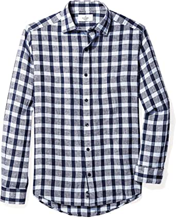 Buttoned Down Men's Fitted Spread-Collar Linen Sport Shirt