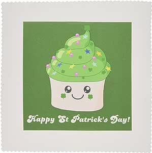 QS 76575inspirationzstore 可爱食品–幸福圣帕特里克节–ST paddys 可爱绿色 cupcake–Kawaii 爱尔兰礼品–爱尔兰三叶苜蓿–方块拼布