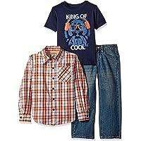 Lee 男孩 3 件 纽扣衬衫, 印花T恤, 牛仔套装