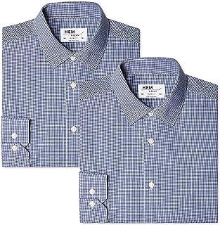 Hem & Seam 男式修身条纹正装衬衫,2 件装
