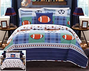 别致家居复古四件套双面被子套装拼接印花运动青春设计被单床上用品 - 装饰枕头 多色 两个 BQS16041-AN