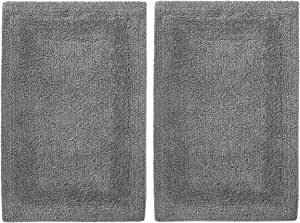 Cotton Craft 2 Piece Reversible Step Out Bath Mat Rug Set 17x24 Charcoal, 100% Pure Cotton, Super Soft, Plush & Absorbent, Hand Tufted Heavy Weight Construction, Full Reversible, Rug Pad Recommended