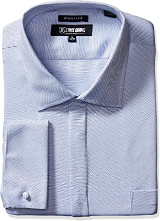 "STACY ADAMS 男士大码织纹纯色正装衬衫 蓝色 18.5"" Neck 34-35"" Sleeve"