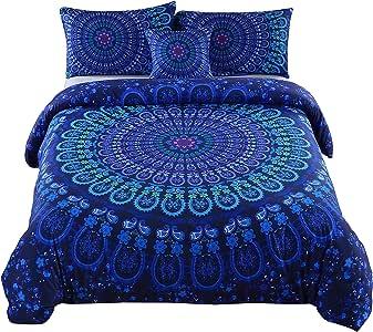MeiLa 4 Pcs Luxury Soft Microfiber Bedclothes Plain Twill Boho Bohemian Duvet Cover Set Mandala Pattern Bedding Sets Queen Size