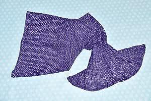 comfydots 美人鱼抱毯尾部针织钩针编织女孩拉皮包比例图案生日礼物 紫色 47in x 32in