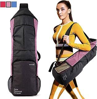 Warrior2 瑜伽垫包手提包瑜伽吊带背包适合 1.27cm 厚垫,大拉链口袋和瓶架 | 多功能包适用于瑜伽健身房运动旅行女士男士