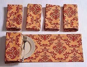 ShalinIndia 锦缎图案棉质厨房餐巾适用于Horde Ouveres 一套 15.24cm x 33.02cm 优质桌布 适合餐厅派对桌装饰 橙色和红色花缎 橙色 红色 24 X 24 Inches MPN-TN24-1410-S6