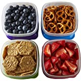 fit & fresh stak pak portion control 1-cup container set, 4 bpa-free reusable food storage containers and ice packs, healthy lunch and snack for school/work by fit & fresh