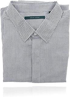Perry Ellis 男式 Collard 系扣长袖设计师衬衫 (XXL) 蓝色