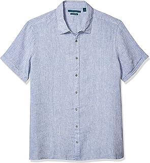 Perry Ellis 男士高大款纯色亚麻短袖系扣衬衫