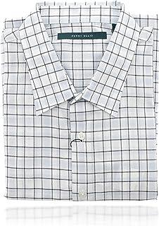 Perry Ellis 男式 Collard 系扣短袖设计师衬衫(XL 码)蓝色