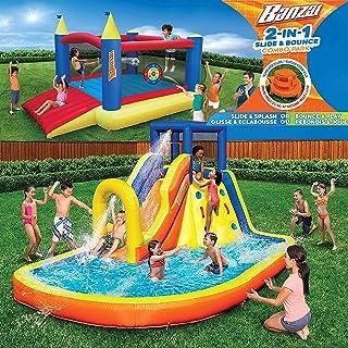 充气水滑梯和弹跳屋(组合包) - 大型重型户外儿童冒险公园泳池,内置洒水器波浪和滑梯,加大赠品 12 x 9 英尺弹跳屋 - 包括免费鼓风机