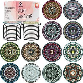 Decopom 杯垫 带支架的 Mandala 石头 - 14 件装可爱酷饮杯垫吸水陶瓷圆边软木底座和 2 个黑色铁托,适用于公寓桌、酒杯杯