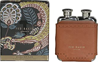 Ted Baker ATED458 男式 棕色 Brouge Kiku 不锈钢双臀*瓶 带皮革效果盒 5.02 毫升