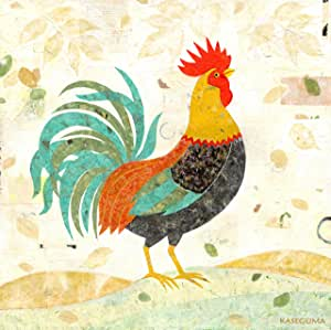 Oopsy Daisy Turquoise Tail Rooster Stretched Canvas Wall Art by Gale Kaseguma, 24 by 24-Inch