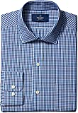 "Buttoned Down Men's Classic Fit Spread-Collar Pattern Non-Iron Dress Shirt Blue/Brown Check 18.5"" Neck 37"" Sleeve"