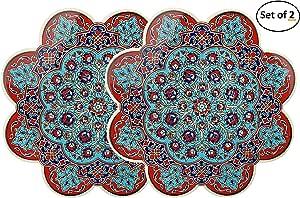 Firat 土耳其手工艺术陶瓷三脚架 - 直径 18.42 厘米 - Anatolian 装饰*油漆 Iznik Trivet 带泡沫背衬