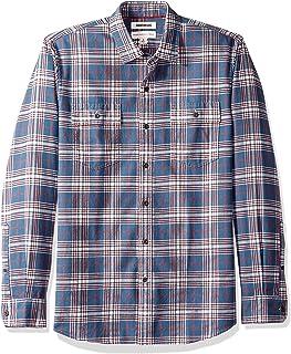 Amazon Brand - Goodthreads 男式标准修身长袖格子斜纹衬衫