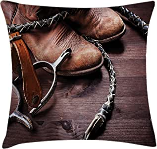 Western Decor Throw Pillow Cushion Cover by Ambesonne, Authentic Old Leather Boots and Spurs Rustic Rodeo Equipment USA Style Art Picture, Decorative Square Accent Pillow Case, 16 X 16 Inches, Brown