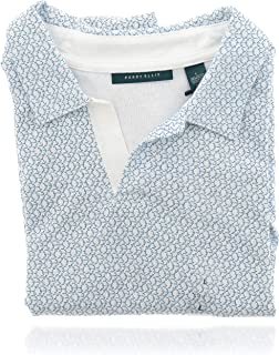 Perry Ellis 男式短袖设计衬衫(L 码)白色和蓝色