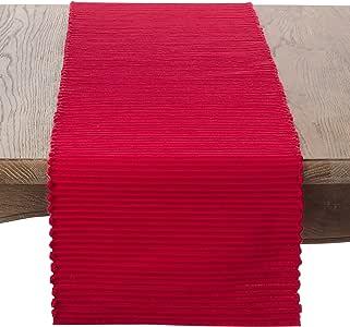 """SARO LIFESTYLE Franboler 系列罗纹棉餐垫 4 件套 红色 13"""" x 72"""" 2126.R1372B"""