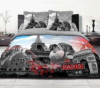 Home Passion 54201 羽绒被套 240 x 220 厘米 57 纱支棉巴黎方形灰亚麻,3 件装