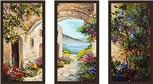 "Picture Perfect International 704-2245-1224 ""European Vista 3"" Framed Plexiglass Wall Art, Set of 3, 13.5"" W x 25.5"" H x 1"" D"