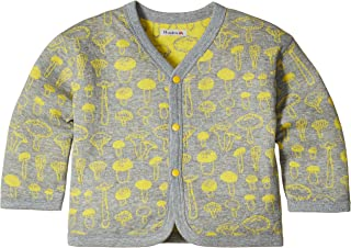 Hoppetta 两面穿的开衫蘑菇 麻灰x黄色 90