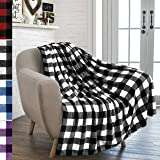 PAVILIA 法兰绒毛沙发毯 | 超柔软舒适超细纤维沙发毯 | 装饰性风格抱毯 Plaid White/Black 50 x 60 Inches P-B3009