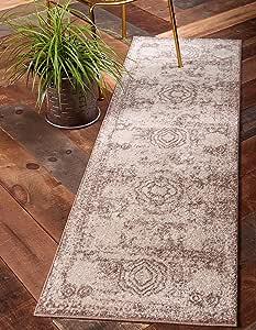 独特 Loom Bromley 系列复古传统*章边框粉色长跑毯