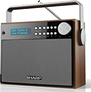 Sharp 夏普 DAB + 数字收音机 DAB + / FM 带 RDS 播放文本 闹钟 / *和贪睡功能 棕色DR-P350 DAB+ Digital Radio