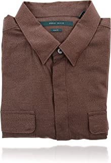 Perry Ellis 男式 Collard 系扣长袖设计师衬衫 (XL) 栗色