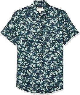 亞馬遜品牌 - 亞馬遜品牌 - GoodThread男士修身短袖亞麻和棉混紡襯衫