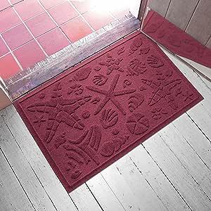 """Aqua Shield Beachcomber Doormat, 2"""" x 3"""", Bordeaux"""