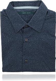 Perry Ellis 男式领扣短袖设计师衬衫(小号)蓝色