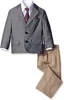 Nautica Little Boys' Linen Twill Solid Duo Set