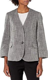 Kasper 女士交叉染亚麻混纺无领 1 粒扣夹克带袖口