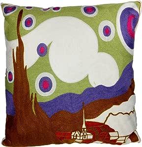 蓝色海豚特殊刺绣绘画枕套 45.72 厘米 White, Muti Color 18x18 P12S028WH