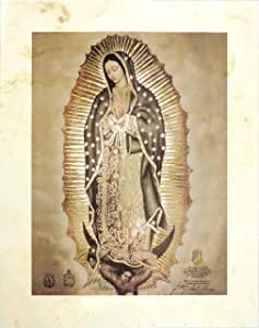 Amate Bark Paper Our Lady Of Guadalupe 艺术印刷品,大师作品(高分辨率,配层层压,金色箔) 12x16""