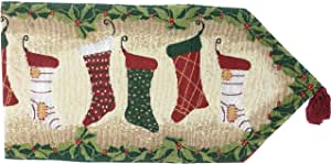 Tache 13 x 90 Inch Decorative Green Christmas Tapestry Hang My Stockings By the Fireplace Woven Table Runners