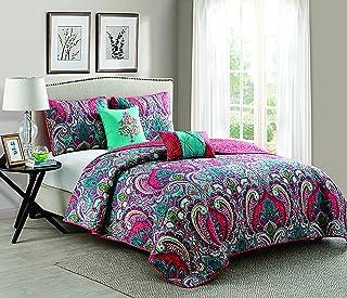 VCNY Home Casa Re'al Polyester 5 Piece Quilt Set, SUPER SOFT Quilt Set, Wrinkle Resistant, Hypoallergenic Bed Set, King, Multi