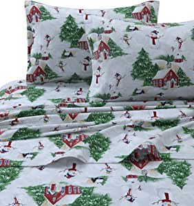 Tribeca Living 格子驼鹿印花法兰绒深袋床单套装,多色 Snowman Red/Green 加州King size SNMANSHEETCKRG