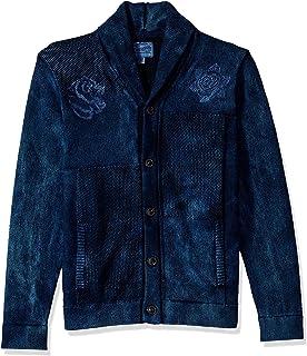 Lucky Brand 男式刺绣拼接靛蓝色披肩毛衣