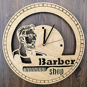 Barber Shop 实木挂钟 - 环保天然家居房间墙饰 - 男女创意礼物