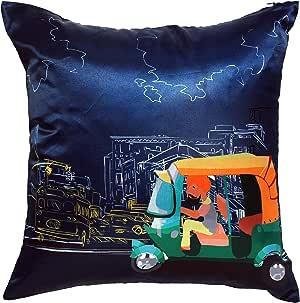 印*安语 40.64cm x 40.64cm 缎面和涤纶丝绸尖头 Delhi-6 靠垫
