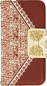 JUJEO Bowknot Magnetic Lace Pattern for iPhone 6 4.7-Inch Leather Wallet Shell - Non-Retail Packaging - Brown